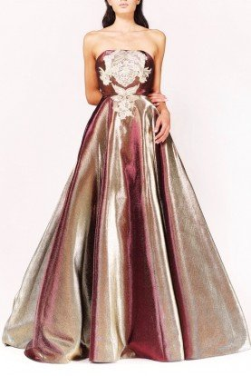 Strapless Metallic Ball Gown Evening Dress