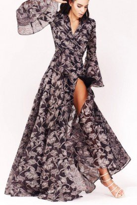 Long Sleeve Floral Evening Gown