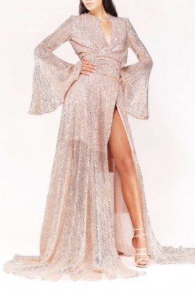 Blush Pink Sequined Long Sleeve Evening Gown