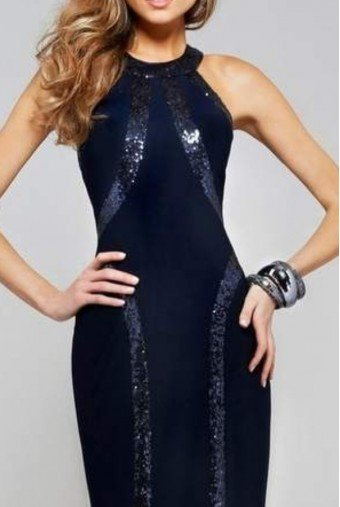 Faviana Short Prom Dress w Sequin Detail in Navy