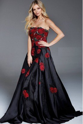 Jovani 53111 Strapless Black and Red Floral Applique Gown