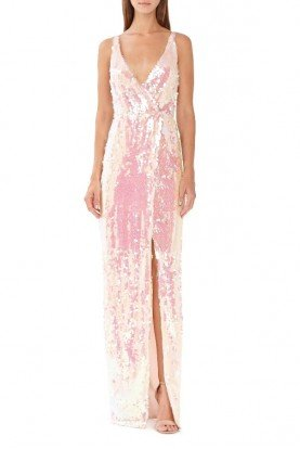 ML Monique Lhuillier Blush Sleeveless Sequin Gown with Slit