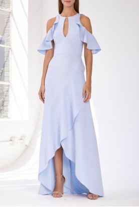 ML Monique Lhuillier Dawn Blue Cold Shoulder Hi Lo Gown