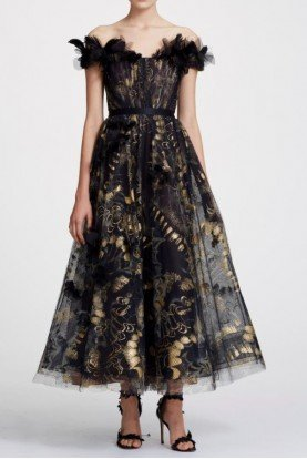 Off Shoulder Foil Printed Tulle Midi Tea Dress