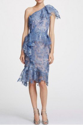 One Shoulder Foil Printed Lace Cocktail Dress