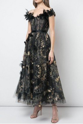 M25824 Off Shoulder Foil Printed Tulle Midi Dress