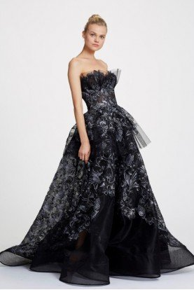Black Strapless Net A Line Ball Gown