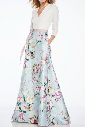 Light Blue Floral Long Sleeve Evening Gown