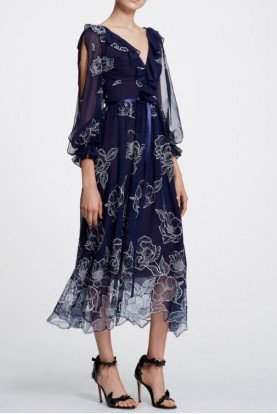 Marchesa Notte Navy Blue Floral Long Sleeve Midi Tea Dress