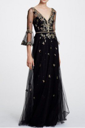 Black Gold Beaded Embroidered Evening Gown