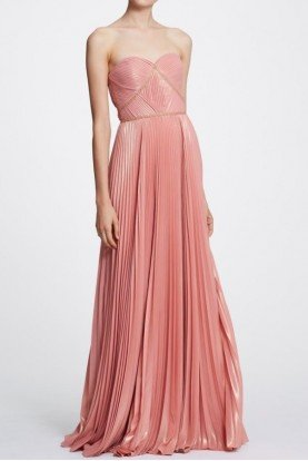 Coral Pink Long Strapless Pleated Gown N29G0841