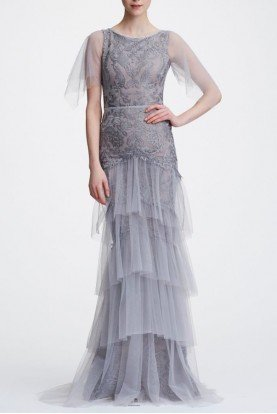 Marchesa Notte Silver Embroidered Tiered Tulle Gown