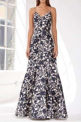 Navy Blue Sleeveless Floral Mikado Dress