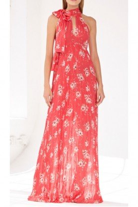 Coral Keyhole Bodice Sleeveless Floral Gown