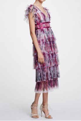 Marchesa Notte Short Sleeve Colorful Printed Floral Dress