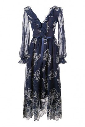 Floral embroidered maxi dress blue N30G0871