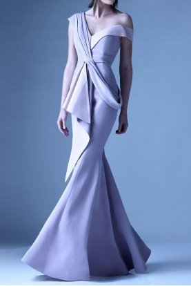 Light Purple Asymmetrical Draped One Shoulder Gown
