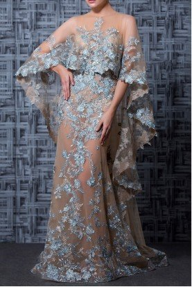 Nude and Light Blue Embellished Cape Evening Gown