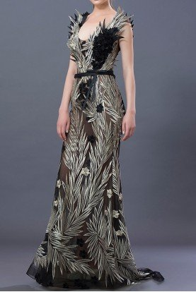 Embroidered Structured Black Metallic Evening Gown