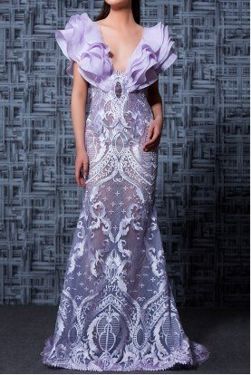 MNM Couture Short Sleeve Purple Lilac Lace Evening Gown