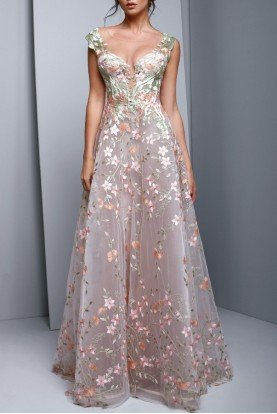 Beside Couture by Gemy Pastel Pink Floral Embroidered Evening A Line Gown