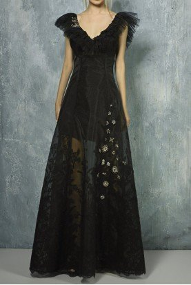Beside Couture by Gemy Black Cap Sleeve A Line Evening Gown