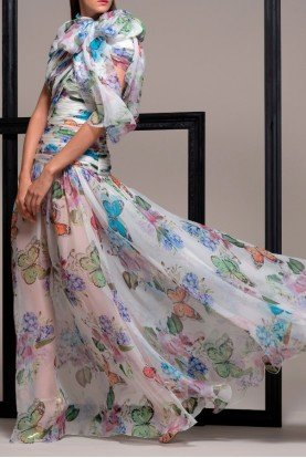 Colorful Airy Butterfly Evening Gown Dress