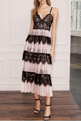 Marchesa Notte Black Blush Sleeveless Tulle and Lace Midi Dress