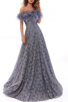 93707 Lace Off Shoulder Lace Gown in Blue Smoke