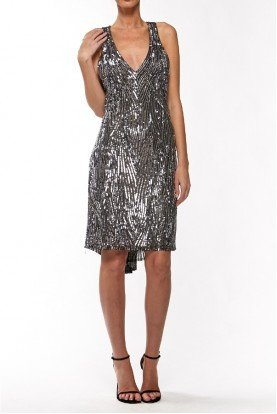 Black Open Back Metallic Stone Dress