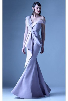 Asymmetrical Light Purple Draped Gown