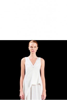 White V Neckline Structured Cotton Twill Top