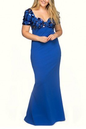 Escada Curacao Blue Beaded Embellished Gown