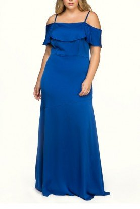 Blue Cold Shoulder Silk Dress