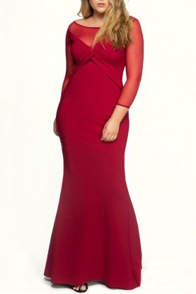 Red Alidora Long Sleeve Mesh Gown