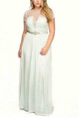 Catherine Deane Blue Princess Short Sleeve Lace Top Bodice Gown