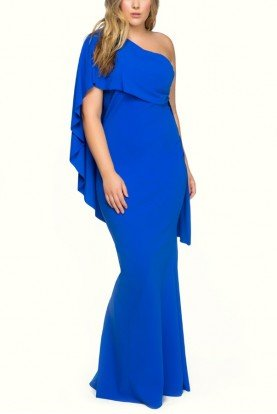 Royal Blue Asymmetric Mermaid Gown with Cape