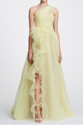 Pastel Yellow One Shoulder Pebble Organza Gown