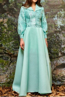 Mint Metallic Floral Jacquard Long Dress
