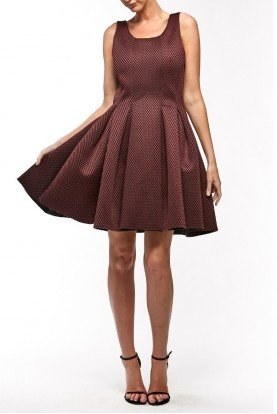Burgundy Mini Pouf A Line Mesh  Cocktail  Dress