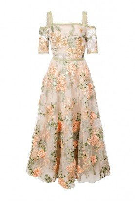 Marchesa Notte Floral embroidered off the shoulder dress