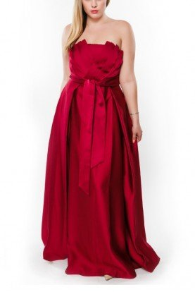 Zac Posen Rosy Red Joelle A Line Pleated Gown
