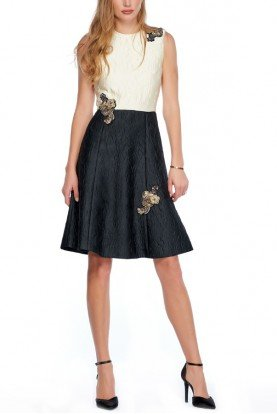 Black and CreamTwo Tone Embellished Jacquard Dress