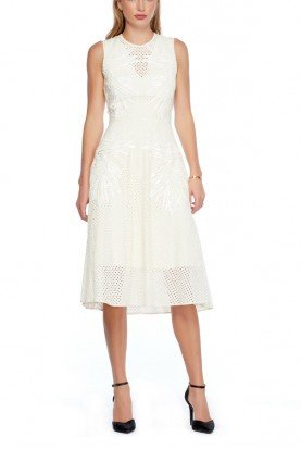 Crocheted Style Embroidered Palm Ivory Dress