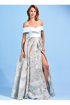 John Paul Ataker Off Shoulder Metallic Burn Out Organza Dress