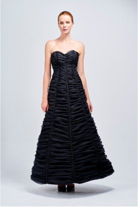 Black Sweetheart Gathered Ribbed A Line Dress