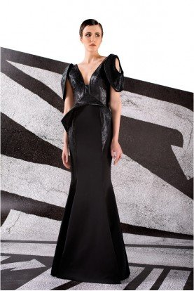 Black Stretch Faille V Neck Leatherette Gown