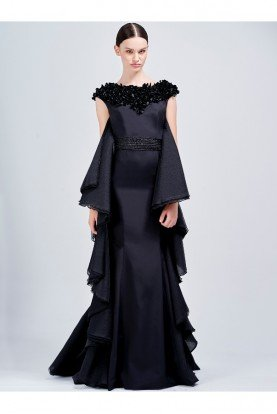 John Paul Ataker Black Organza Ruffled 3D Applique Mermaid Dress