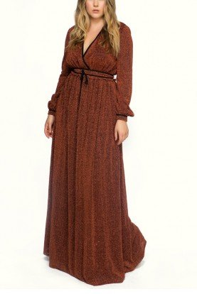 Terracotta Crepe Long Sleeves Dress