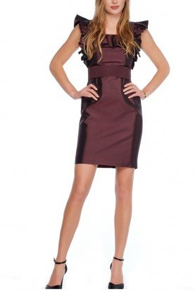 Short Burgundy Plum Ruffled Silk Dress